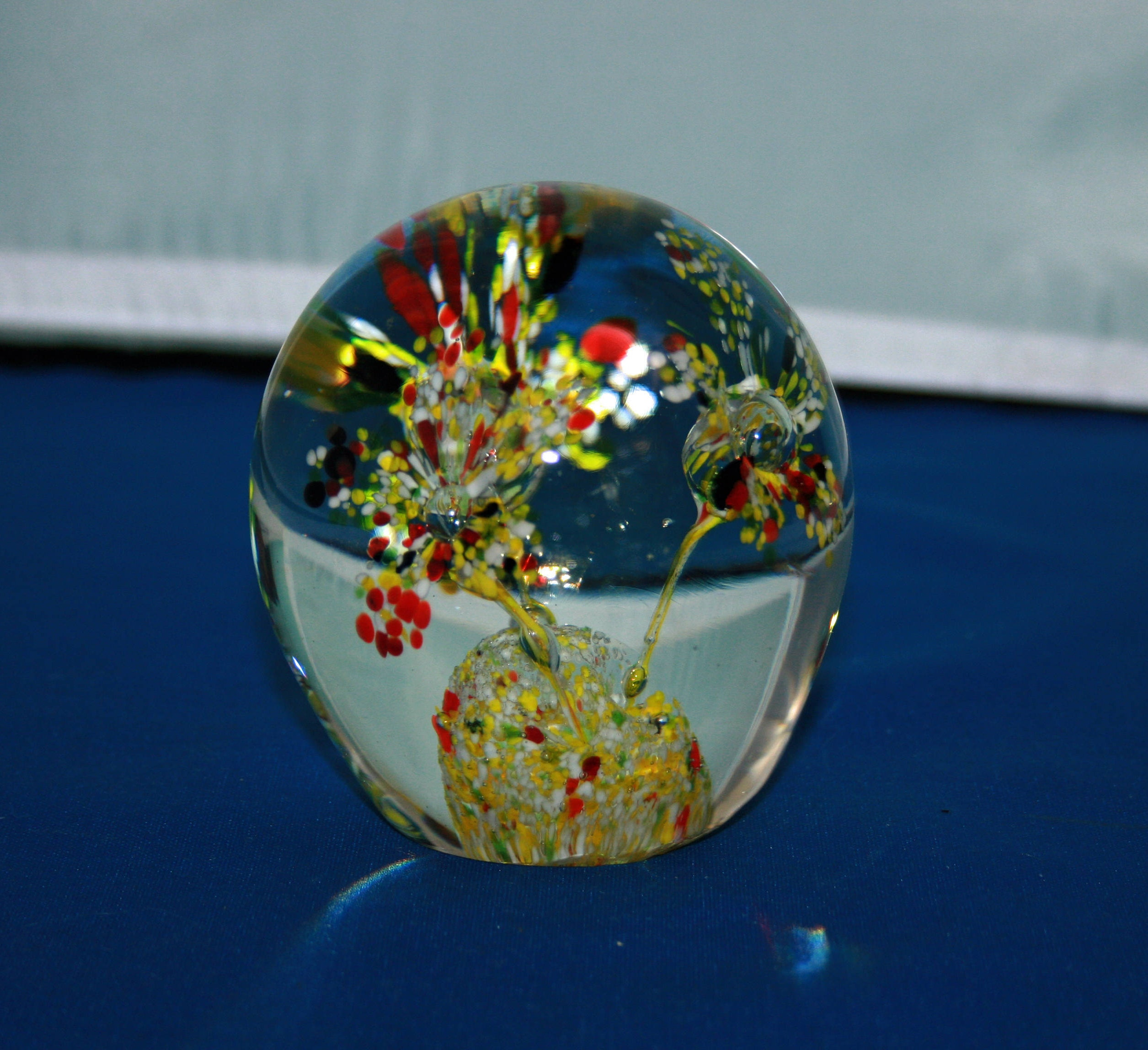 Vintage Multi Colored Triple Trumpet Flower Paperweight Glass Ball