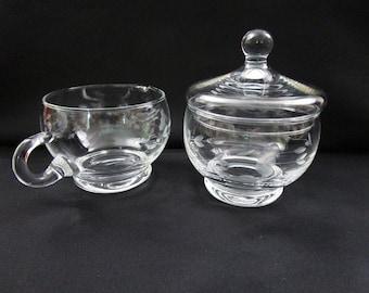 Vintage Princess House Crystal Creamer and Lidded Sugar Bowl Set Heritage Pattern Stackable Hand Blown Hand Cut Item 417