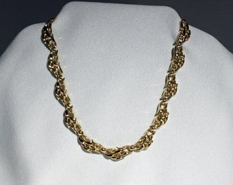 Vintage Trifari Necklace Hinged Waves Flames Wisps Gold Tone Chunky Jewelry Choker Fish Hook Clasp circa 1975