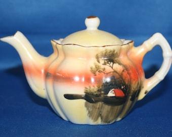Vintage Miniature Teapot Hand Painted Porcelain Tea Pot  Made in Japan Knick Knack Oriental Japanese Asian