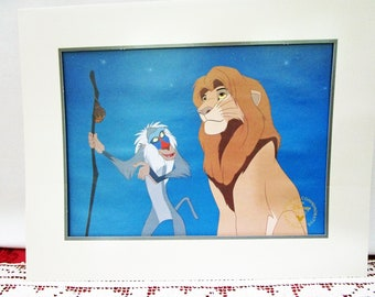 Vintage 1995 Disney Lion King Commemorative Lithograph, Disney Store Exclusive, Mufasa, Rafiki Collectible