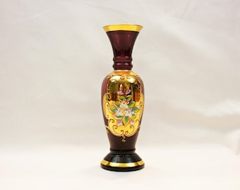 Vintage Lefton Amethyst Purple Bud Vase Gold Gilding Enamel Flowers Hand Blown Painted Bohemian Czech Art Glass Flower Vase Moriage Japan