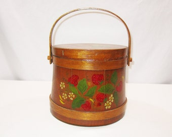 Vintage Wooden Firkin with Original Lid & Handle Hand Painted Strawberry Folk Art Country Ware Sugar SAP Bucket Covered Slant Wood Pail Cask