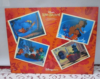 Vintage Disney Lilo & Stitch Commemorative Lithograph, Set of 4, Disney Store Exclusive, Printed in the USA Collectible