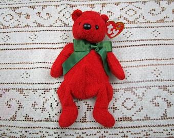 Vintage TY Beanie Bear MISTLETOE TEDDY, 2000, retired, beanie babies, Christmas Red Bear, holiday décor