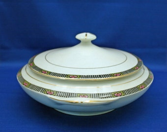 RARE Antique Boston Pottery Co. Round Lidded Casserole / Vegetable Dish  circa 1890s  covered server Serving Dish Akron Stoneware Bowl