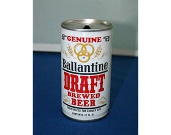 Vintage Ballantine Draft Brewed Beer Steel Can Pull Tab Falstaff Brewing Co Empty Memorabilia Barware Collectible Breweriana Advertisement