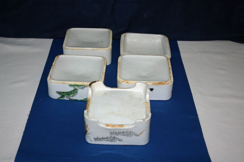 Antique Oriental Danju Jubako Koedo Stacking Box 4-Tier Matching Lid Lidded Ceramic Food Storage Tower stacking bowls nesting dish Japanese