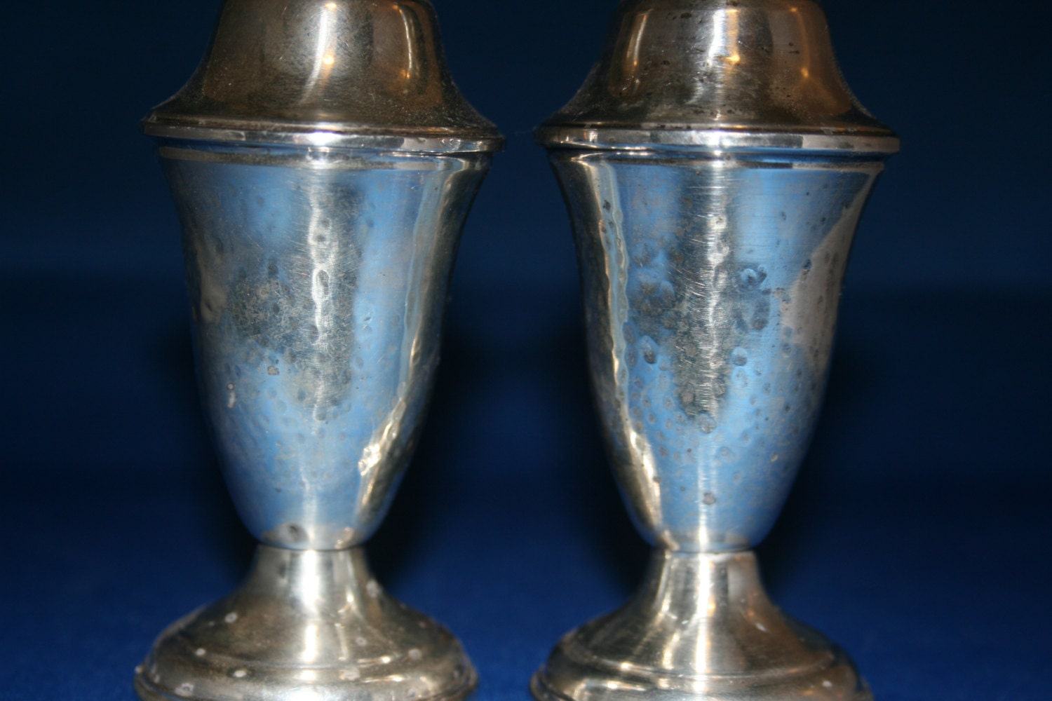 Vintage Sterling Silver Salt And Pepper Shaker Columbia Glass Lined