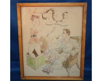 Vintage Watercolor Painting by Frederick Fred Leister labeled Merry Christmas 1951 Art Original Signed Fred Leister Artwork