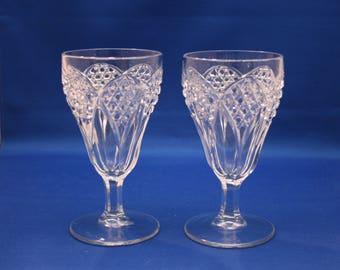 Antique Pair EAPG Fluted Wine Glasses Wine Goblets stemware Glass Goblet Tableware Collectible Shabby Chic Victorian Era