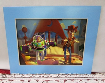 Vintage 1996 Disney Toy Story Commemorative Lithograph, Disney Store Exclusive, Woody and Buzz Lightyear, Made in the USA