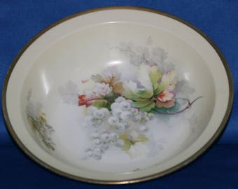 Antique O and E G Royal Austria Bowl Hand Painted and Signed 10 1/2 inch Serving Bowl - 1889 to 1918 Vegetable Bowl Serving Dish
