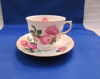 Vintage Teacup and Saucer Queen Anne Bone China Pink Roses Pattern 8217 Ridgway Potteries E766 Tea Cup Made in England English Tea Party