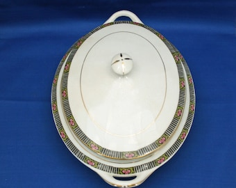 RARE Antique Boston Pottery Co. Oval Lidded Casserole Vegetable Dish  Circa 1890s Covered Server Covered Dish Akron Stoneware Serving Dish