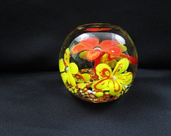 Vintage Orange and Yellow 4 Trumpet Flowers Paperweight Flower Paper Weight Art Glass Ball Hand Made Mouth Blown Sculpture