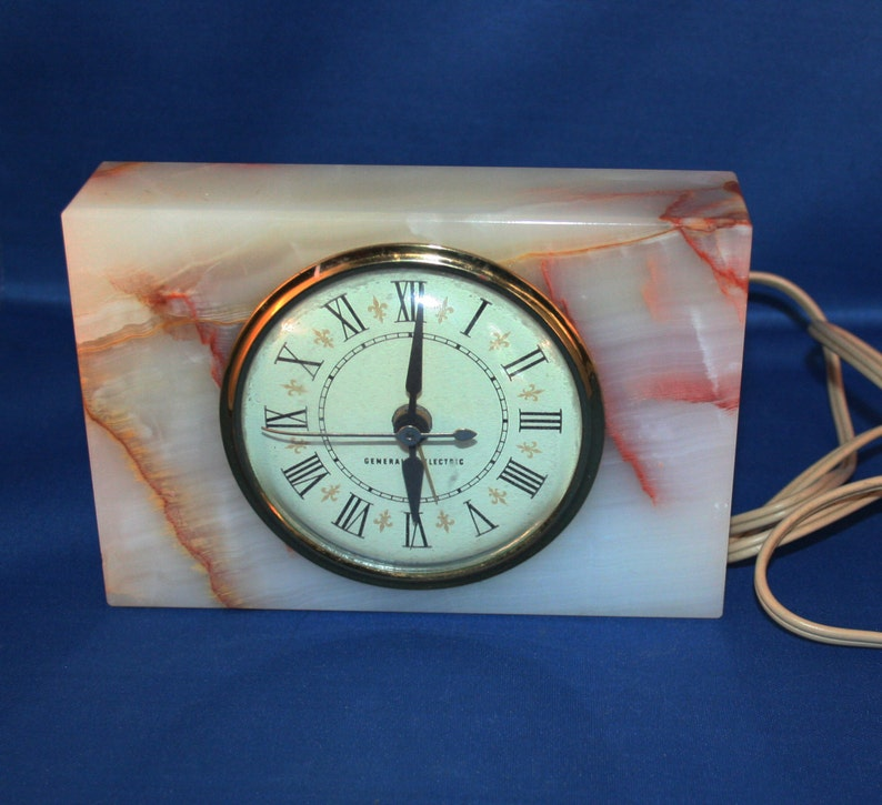 Vintage Working GE General Electric Alarm Clock with Alabaster Model 7286 A  Circa 1960's