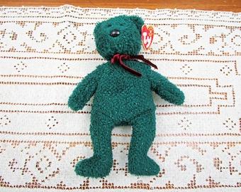 Vintage TY Beanie Bear HOLIDAY TEDDY, 2000, retired, beanie babies, Christmas Green Bear, holiday décor