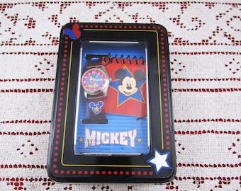 Vintage Disney Mickey Mouse Silver Watch and Spiral Notebook Set, Youth Gift Set, Unworn Disneyana Collectible Disneyland Souvenir