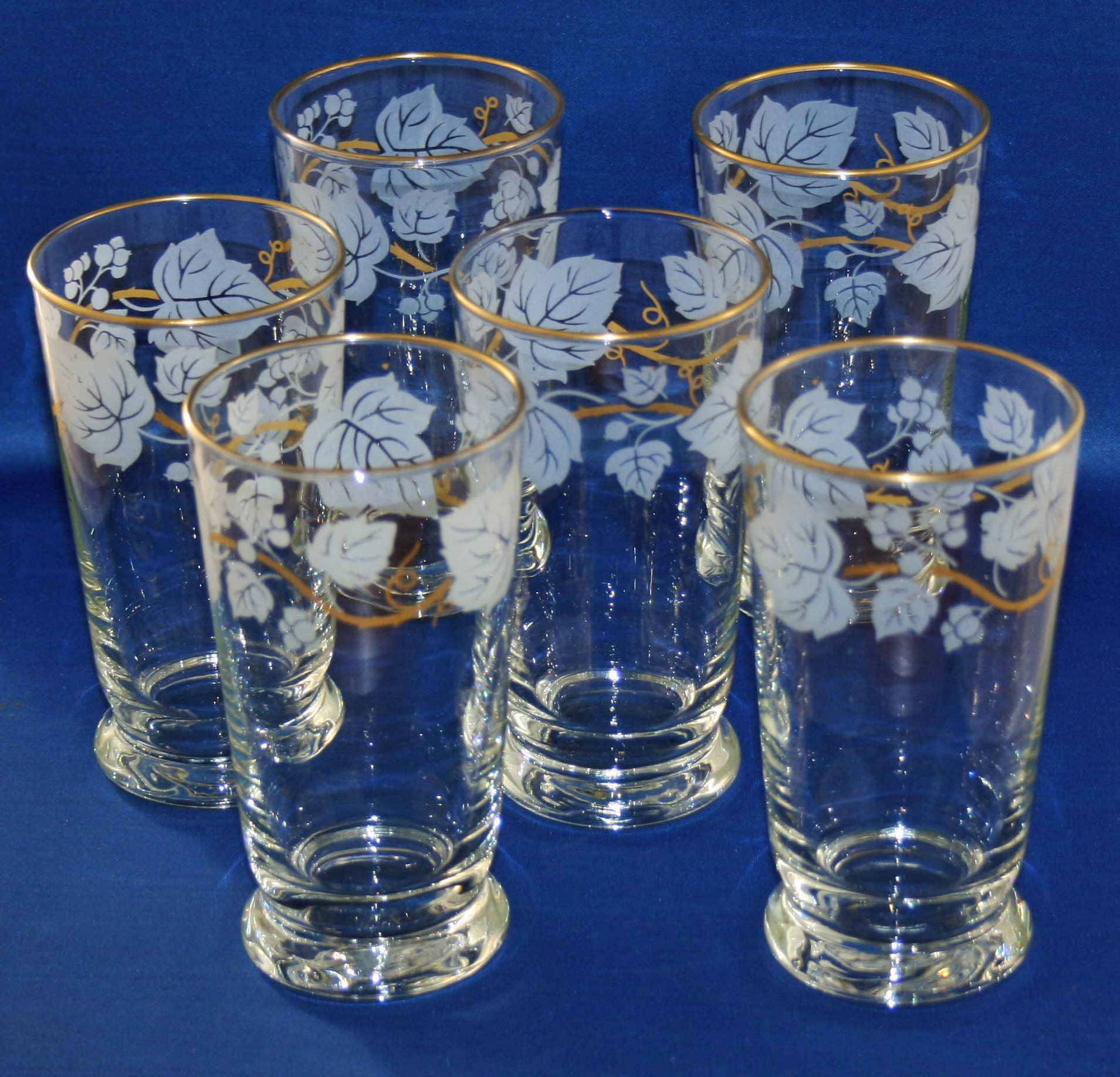 a9fe5c5bb810 Vintage Libbey Ivy Bower Juice Glass set of 6 glasses Signed 1948's 12 Oz  Gold Rim Tumbler Grape Vine Libbey Glass Co Tableware Water Milk