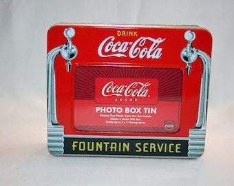 Vintage Coca-Cola Photo Box Tin Fountain Service Collector's Tin - Coca Cola Collectible Coke Memorabilia Ephemera Storage Box Tin