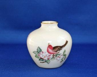 Vintage Lenox China Serenade Bud Vase 24kt Gold circa 1984-97 USA Hand Painted Accents Flower Miniature Bird Mini Vase Knick Knack
