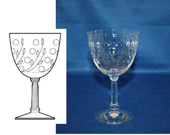 Vintage Spinet Wine Glass by Fostoria Glass Co circa 1950s Water Goblet white wine glass cut pattern 821 Bar Barware Breweriana