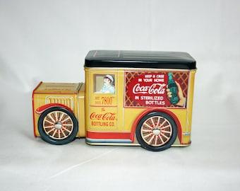 Vintage Coca-Cola Collector's Tin – Yellow Delivery Truck - Coke Collectible Tin Delivery Truck - Memorabilia Ephemera 1996