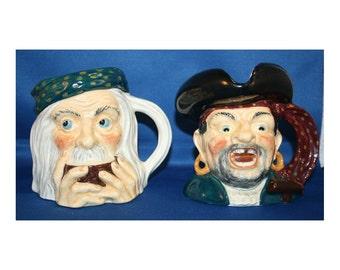 Vintage Treasure Island Toby Jug Long John Silver & Ben Gunn Mug Midwinter LTD Made in England