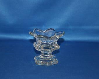 Vintage Lead Crystal Lotus Flower Tealight Candle Holder Candlestick Glass Votive Candle Holder