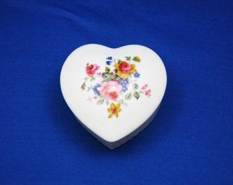 Vintage Heart Shaped Jewelry Box Cabbage Rose Floral Spray Trinket Box Saddler