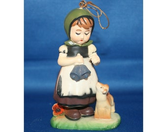 Vintage Hummel Style Christmas Tree Ornament - Girl holding bells with a little lamb Holiday Ornaments Hard Plastic Figurine