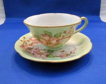RARE Vintage Teacup and Saucer Agnes Visokay Hand Painted Flowering Dogwood Bone China Floral Tea Cup and Saucer Tea Party ARV-DWTC