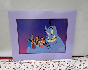 Vintage Disney 1996 Aladdin and the King of Thieves Commemorative Lithograph, Disney Store Exclusive, Printed in the USA Jasmine Genie Abu