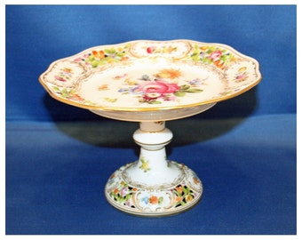 Antique DRESDEN Carl Thieme Reticulated Footed Compote Comport Cake Plate Hand Painted Floral Pattern 1872 to 1902 Pedestal Dish