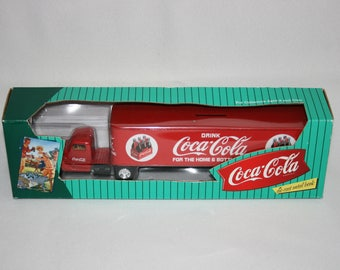 1996 Coca Cola 1/64 scale Ford Semi Die Cast Metal Bank Truck by ERTL  F610 Coca-Cola Delivery Truck Coke Piggy Bank Tractor Trailer Bank