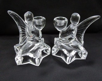 Vintage Glass Angel Candlesticks Kneeling on Star Base Pair Heavy Clear Glass Candle Holder Holiday Candlestick Christmas