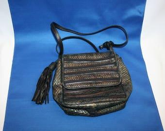 Vintage SHARIF Leather Faux Snakeskin Shoulder Bag, Made in the USA Circa 1980s Black Purse, Cross Body Handbag, Pocketbook Shoulder Bag