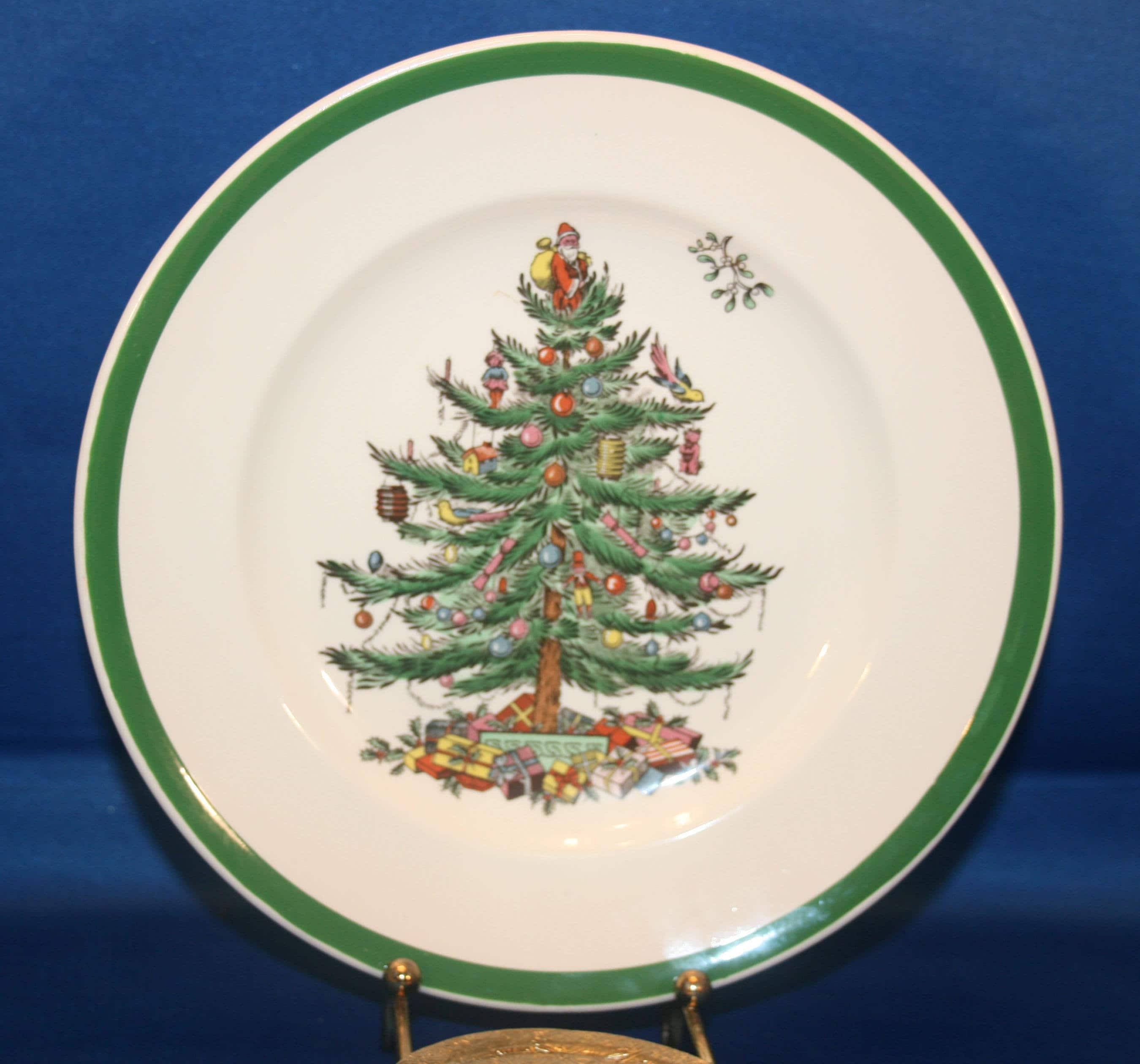 Spode Christmas Tree History: Vintage Spode Christmas Tree Holiday Salad Plate S3324