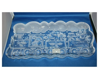 Vintage Gorham Crystal Train Platter, Christmas Holiday Traditions, North Pole Express Server Tray No 6215081, Made in Germany
