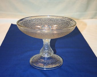 Rare Antique EAPG Clear Glass Flower Centerpiece Candle Bowl compote candle dish Candlestick Candle Holder Candlesticks