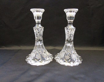 Antique EAPG era Candlesticks 8 Point Star & Panel Hand Polished Candle Stick Holder Christmas Thanksgiving Holiday Vintage Candlestick