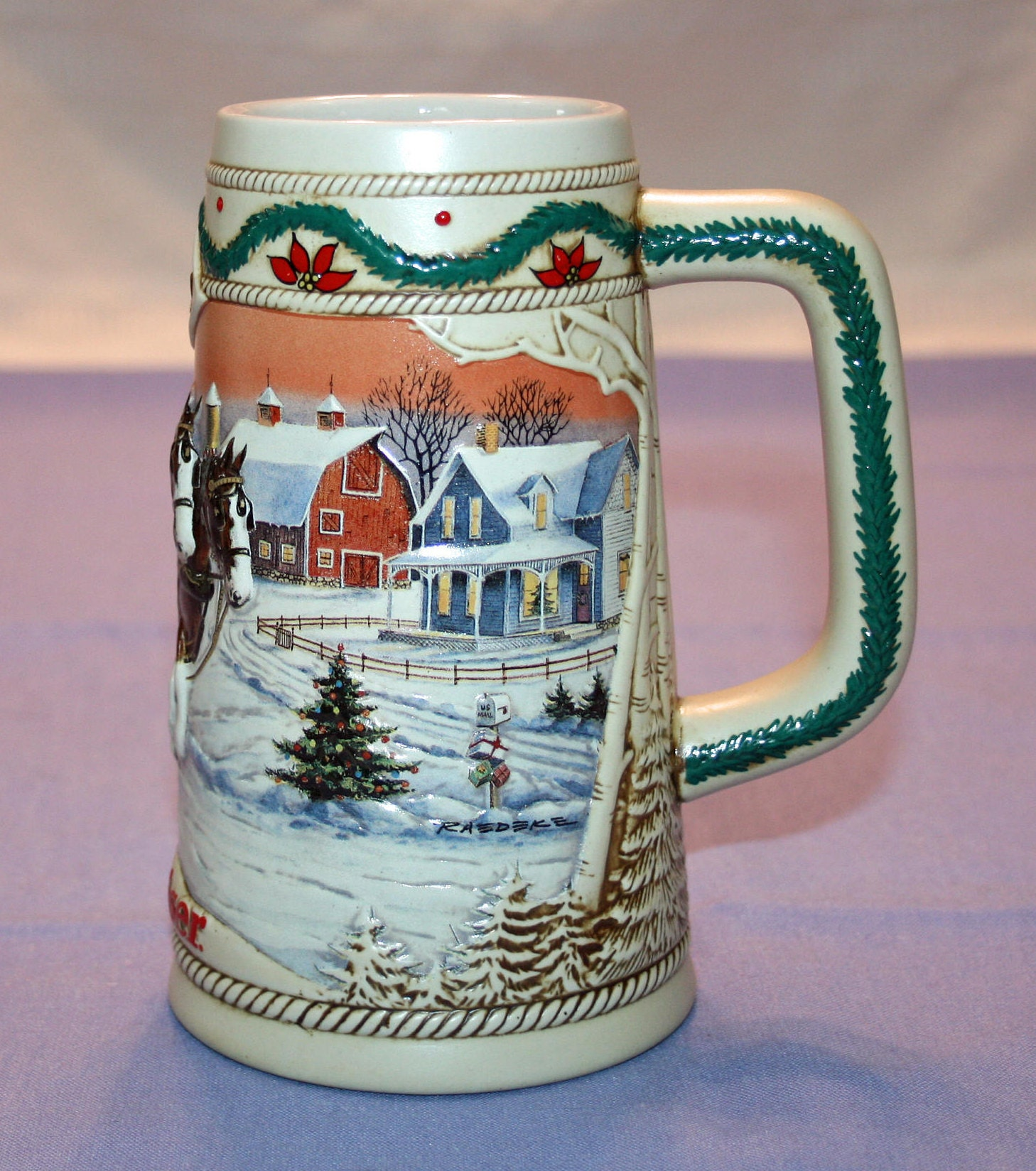 Vintage 1996 Budweiser American Homestead Beer Stein Holiday Tankard  Limited Edition Brazil Bar Collectible Barware Memorabilia Breweriana