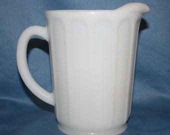 Vintage Hazel Atlas Milk Glass Syrup Pitcher Juice Creamer Milk Pitcher 1950's Cream Pitcher Country Kitchen Homestead Farmhouse Shabby Chic