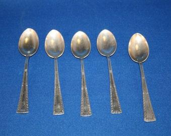 Antique Spoons Demitasse Dessert Spoon Set of 5 German 800 Silver marked WTB Wilhelm Binder Metalware Sugar Teaspoon