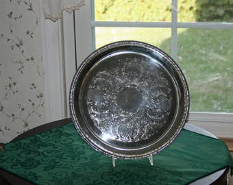 Vintage Galley Tray William Rogers Silverplate #670 Round Pierced Galley Serving Tray Floral Scroll Design Pattern Silver Plate Metalware