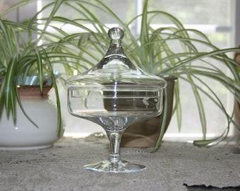 Vintage Princess House Heritage Crystal Pedestal Lidded Candy Dish Apothecary Jar