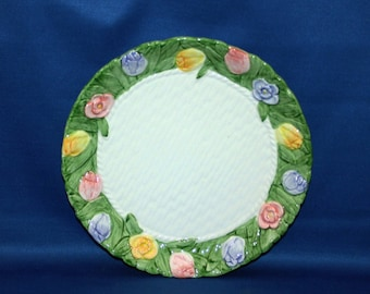 Vintage Spring Flower Basket Plate by Mary Ann Baker Ironstone floral plate Petits Fours Server petit four Hand Painted Easter Holiday
