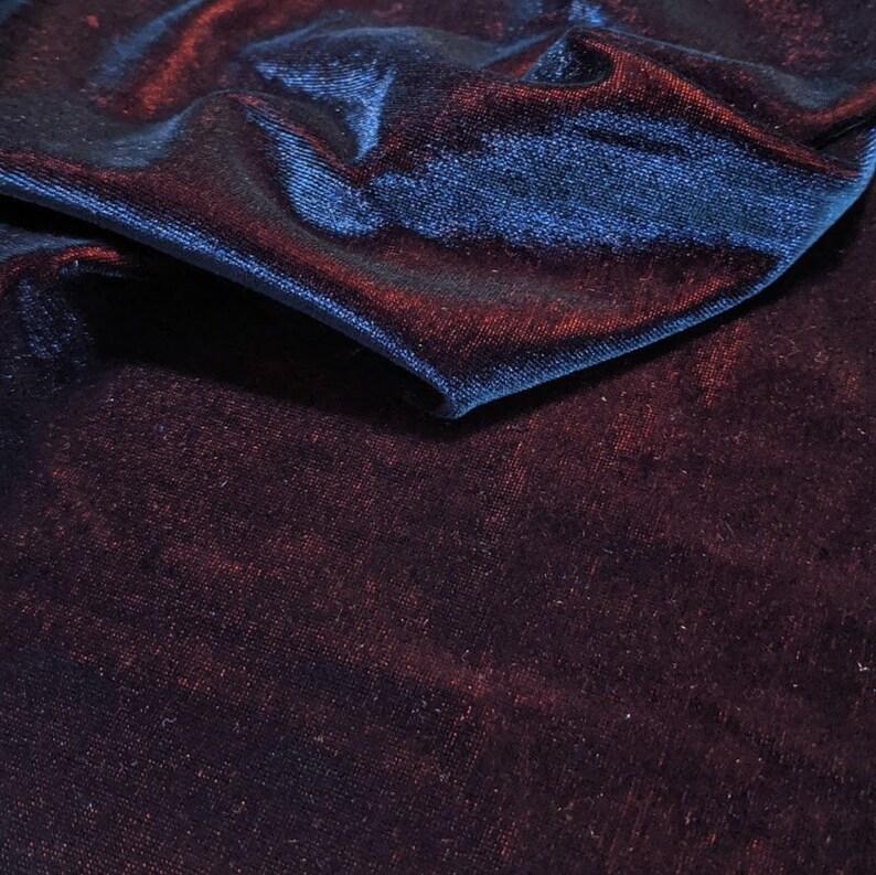 Iridescent Velvet Fabric Blue Red Shimmer Velour Material image 0
