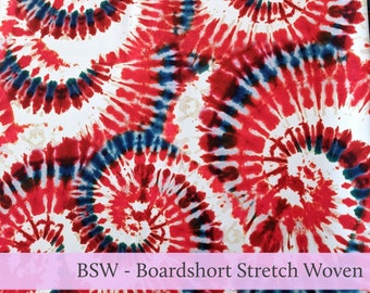 Red White and Blue Patriotic Boardshort Stretch Woven BSW Fabric